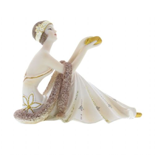Art Deco Lady Sitting Figurine Broadway Belles Cream and Gold Collection by Juliana 'Livvie' 58437